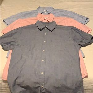 BUNDLE OF 3 Mens Short Sleeve Button Down Shirts